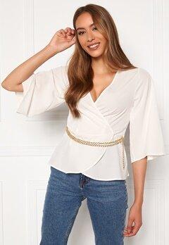 Chiara Forthi Aliona wrap blouse Light beige Bubbleroom.se
