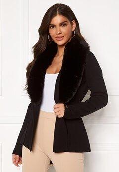 Chiara Forthi Arina heavy knit wrap jacket Black Bubbleroom.se