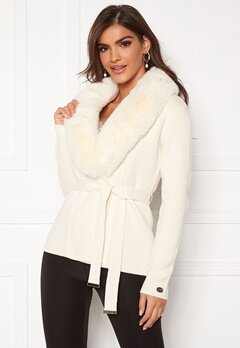 Chiara Forthi Arina heavy knit wrap jacket Winter white Bubbleroom.se
