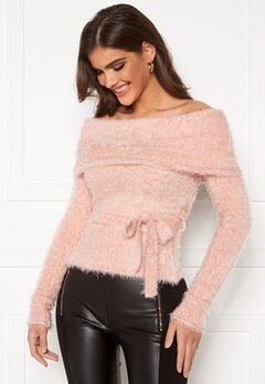 Chiara Forthi Beatricia furry offshoulder sweater Light pink Bubbleroom.se