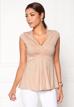 Chiara Forthi Becca Pleated Top Beige Bubbleroom.se