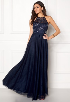 Chiara Forthi Briley Halterneck Gown Dark blue Bubbleroom.fi