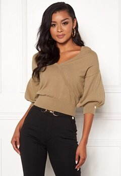 Chiara Forthi Cameo knitted puff sleeve sweater Beige Bubbleroom.se