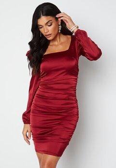 Chiara Forthi Cannelita Ruched Dress Dark red bubbleroom.se