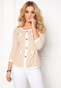 Chiara Forthi Cardi Peplum Top Beige / Natural white / Gold Bubbleroom.eu