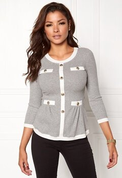 Chiara Forthi Cardi Peplum Top Grey melange / Natural white Bubbleroom.no