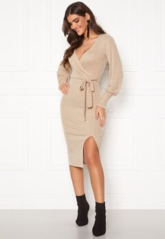 Chiara Forthi Cashmere-Feel Knitted Wrap Dress Beige Bubbleroom.se