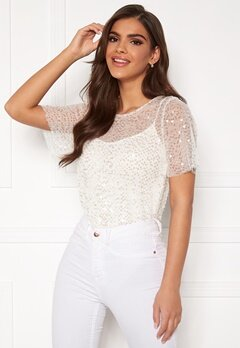 Chiara Forthi Chrystal sequined top Light offwhite Bubbleroom.se