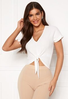 Chiara Forthi Clarice tie flounce top Offwhite Bubbleroom.se