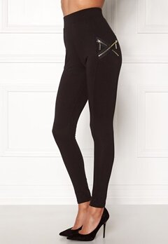 Chiara Forthi Cross-Zip Legging Black / Gold Bubbleroom.no