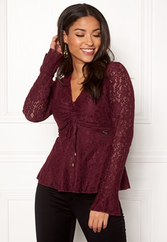 Chiara Forthi Deidre Lace Top Wine-red Bubbleroom.se