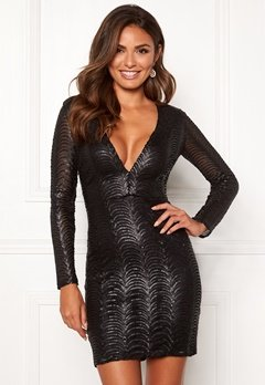 Chiara Forthi Demi deep v-neck sequin dress Black Bubbleroom.se