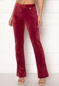 Chiara Forthi Elvira velour bootcut pants Wine-red Bubbleroom.se
