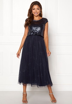Chiara Forthi Estelle sequin top gown Navy Bubbleroom.se