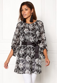 Chiara Forthi Floral Chiffon Dress Black / Floral Bubbleroom.se