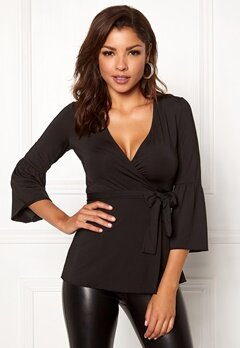 Chiara Forthi Francesca Wrap Top Black Bubbleroom.se