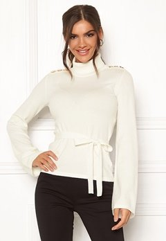 Chiara Forthi Gaby fine knitted tie sweater Offwhite Bubbleroom.se