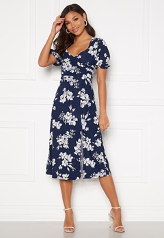 Chiara Forthi Giulia Puff Sleeve Dress Navy / Floral Bubbleroom.se