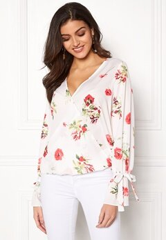 Chiara Forthi Guilia Wrap Top White / Floral Bubbleroom.fi