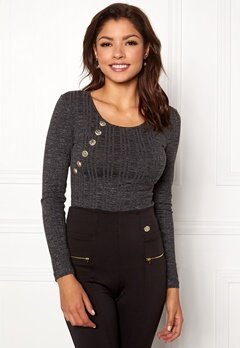 Chiara Forthi Hailey top Dark grey melange Bubbleroom.se