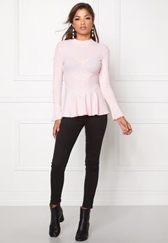 Chiara Forthi Intrend Rib Peplum Top Light pink Bubbleroom.eu
