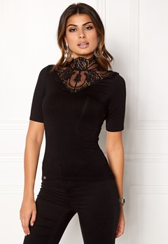 Chiara Forthi Intrend scallop highneck top Black Bubbleroom.eu