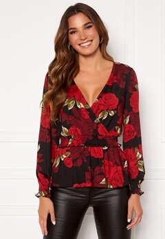 Chiara Forthi Jennica wrap smock top Black / Red / Floral Bubbleroom.se