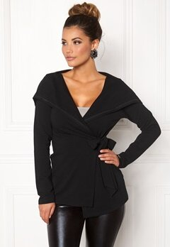 Chiara Forthi Large Hoodie Wrap Jacket Black Bubbleroom.eu