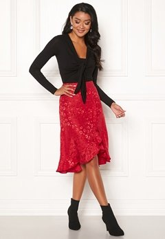 Chiara Forthi Leila Flounce Buttoned Skirt Red Bubbleroom.se