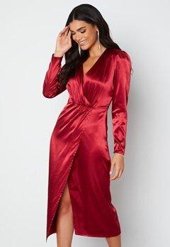 Chiara Forthi Lucie Satin Draped Dress Dark wine-red bubbleroom.se