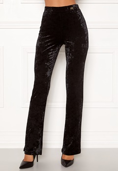 Chiara Forthi Lumina velvet bootcut pants Black Bubbleroom.se