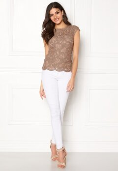 Chiara Forthi Michelle Lace Top Light nougat Bubbleroom.fi