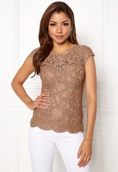Chiara Forthi Michelle Lace Top Light nougat Bubbleroom.se