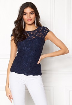 Chiara Forthi Michelle Lace Top Navy Bubbleroom.fi