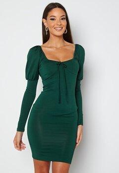 Chiara Forthi Moe puff sleeve dress Emerald green bubbleroom.se