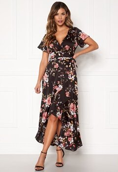 Chiara Forthi Monica wrap flounce dress Black / Pink / Floral Bubbleroom.se