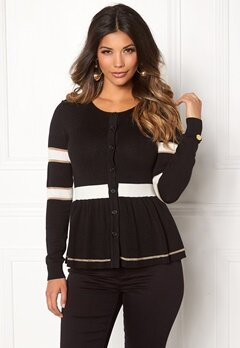 Chiara Forthi Monochrome Peplum Cardi Black / Winter white / Gold Bubbleroom.fi