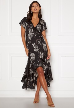 Chiara Forthi Nadine wrap flounce dress Black / Patterned Bubbleroom.se