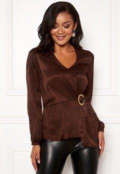 Chiara Forthi Noemi buckle wrap blouse Brown Bubbleroom.se