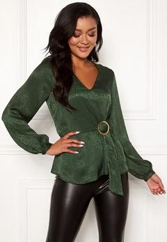 Chiara Forthi Noemi buckle wrap blouse Emerald green Bubbleroom.se