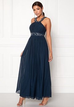 Chiara Forthi Noemi Open-back Prom Gown Dark blue / Silver Bubbleroom.no