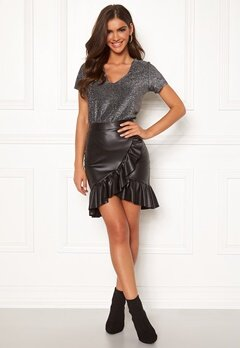 Chiara Forthi Rivalta faux leather flounce skirt Black Bubbleroom.se