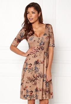 Chiara Forthi Saba Deep V-neck Dress Beige / Floral Bubbleroom.se