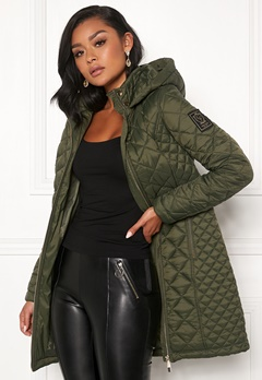 Chiara Forthi Sarraceno Quilted Fur Jacket Khaki green Bubbleroom.se