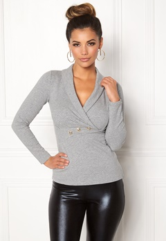 Chiara Forthi Shawl Collar Bodycon Sweatshirt Grey / Gold Bubbleroom.fi