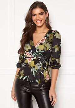 Chiara Forthi Sonnet midi puff sleeve top Black / Green / Floral Bubbleroom.se