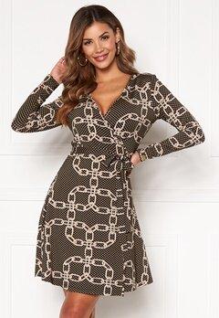 Chiara Forthi Sonnet Mini Wrap Dress Black / Patterned Bubbleroom.se