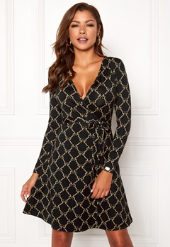 Chiara Forthi Sonnet Mini Wrap Dress Black Bubbleroom.se