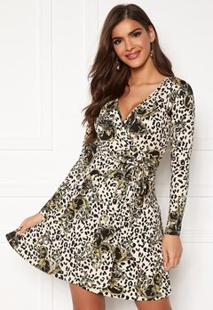 Chiara Forthi Sonnet Mini Wrap Dress Leopard / Black / Patterned Bubbleroom.se