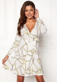Chiara Forthi Sonnet Mini Wrap Dress Offwhite / Patterned Bubbleroom.se